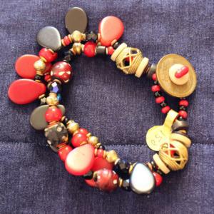 1800's eye beads and czech glass 3 strand bracelet