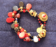 1800's eye beads and czech glass 3 strand bracelet