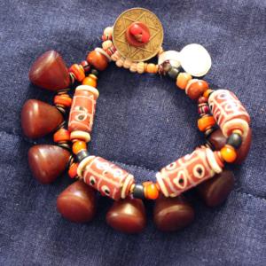 1800's venetian Tic tak toe and rare czech bead 2 strand bracelet