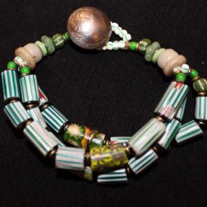 1800's venetian watermelon chevron bead 3 strand bracelet
