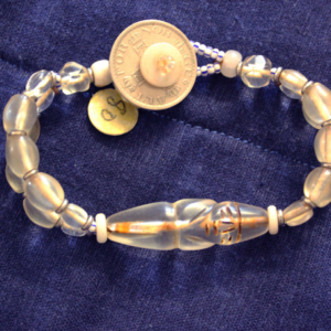 1920 Tibetan shaman bead and vaseline glass 2 strand bracelet