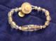 1920 Tibetan shaman bead and vaseline glass 2 strand bracelet