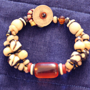 3 strand cheri amber and buffalo bone bracelet