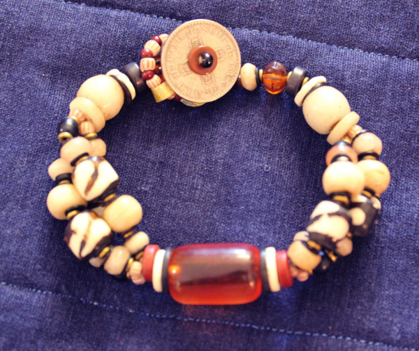 3 strand cheri amber and buffalo bone bracelet