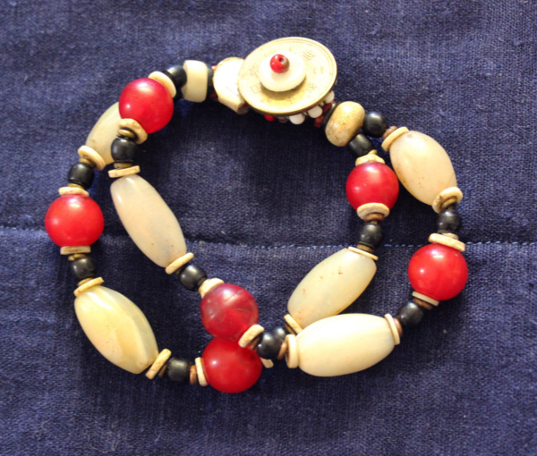 African White Agate and Bohemian reds 2 strand bracelet