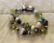 African banded agate and vaseline glass 2 strand bracelet