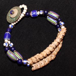 African snake vertebrae and trade bead 2 strand bracelet-blue