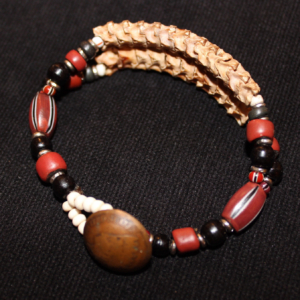 African snake vertebrae and trade bead 2 strand bracelet-brown