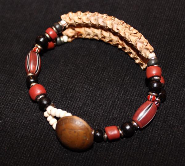 African snake vertebrae and trade bead 2 strand bracelet-brown
