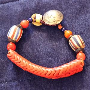 American flag chevrons and snake glass 2 strand bracelet