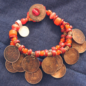 Antique Nepal coin 3 strand orange bead bracelet