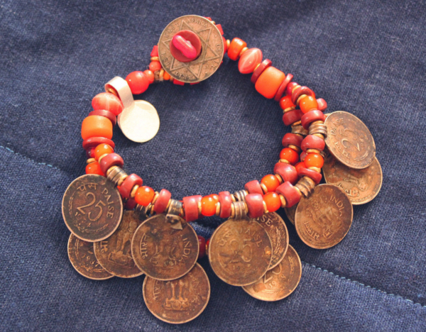 Antique Nepal coin 3 strand orange bead bracelet