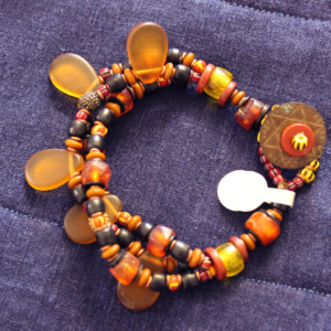 Baltic amber and trade bead 3 strand bracelet