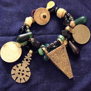 "Large Tribal ""charm"" 3 strand bracelet"