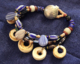 Papua New Guinea conch shell and African trade bead 3 strand bracelet