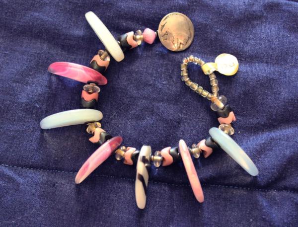 Pink 1920 czech lions claw wedding beads bracelet