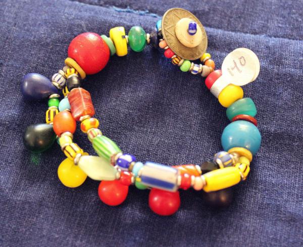 Rainbow wedding beads & Melon bead 3 strand Bracelet