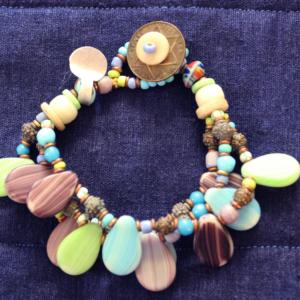 Rare pastel wedding beads 3 strand bracelet