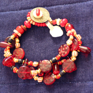 Red moon and stars antique trade bead 3 strand bracelet