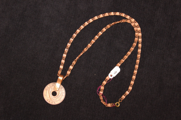 vintage kenyan coin pendant with copper chain necklace 18 inch