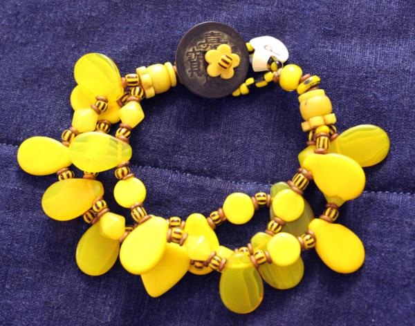 yellow wedding bead 3 strand bracelet